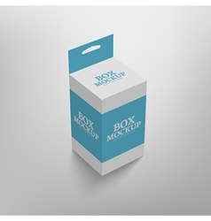 Realistic product package box mock-up with hang vector image