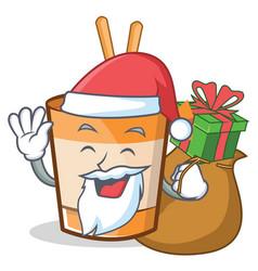 Santa cup noodles character cartoon vector