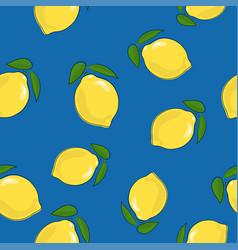 Seamless pattern lemon on blue background vector