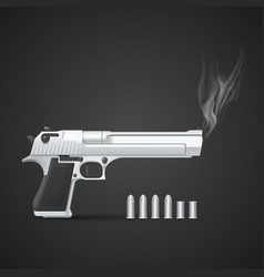 Silver gun with smoke vector