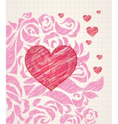 sketchy heart and roses doodle vector image vector image