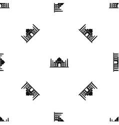 Taj mahal pattern seamless black vector