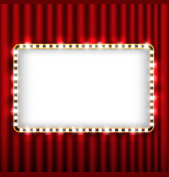 Theater scene with red curtain and sign gold frame vector