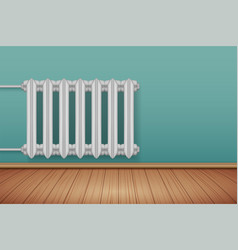 Vintage metal heating radiator in room vector