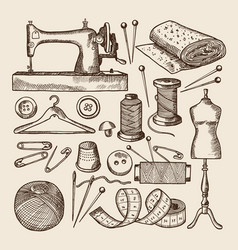 vintage sewing symbols set pictures in vector image