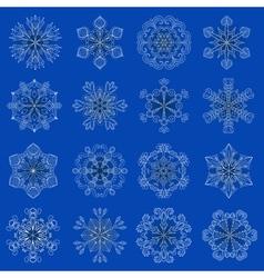 vintage snowflake set in zentangle style 16 vector image