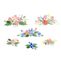 watercolor floral bouquets vector image vector image