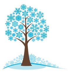 Winter tree with snowflakes vector image vector image