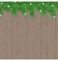 wood background with christmas tree branches vector image vector image