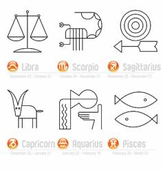 zodiac geometric signs part two vector image