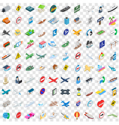 100 navigation icons set isometric 3d style vector