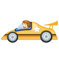 a boy driving a car vector image