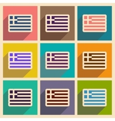 Set of flat web icons with long shadow flag greece vector