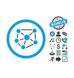 Social Graph Flat Icon with Bonus vector image