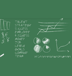Green blackboard with business graphs and terms vector