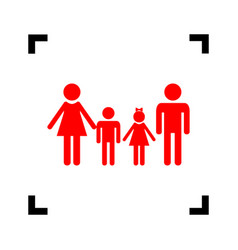 Family sign red icon inside black focus vector