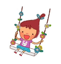 Portrait of girl swinging vector