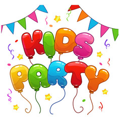 Kids party poster template vector