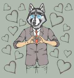 Dog valentine day concept vector