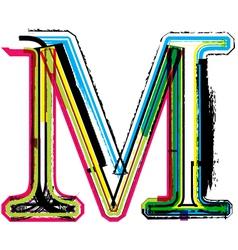Grunge colorful font Letter M vector image