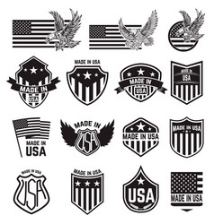 Set of made in usa labels emblems with an vector