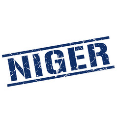 Niger blue square stamp vector
