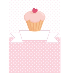 Decorated card with cupcake and pink polka dots vector