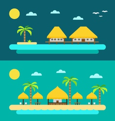 Flat design of summer paradise beach vector