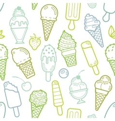 Cute lime seamless pattern with ice creams vector
