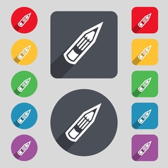 Pencil icon sign a set of 12 colored buttons and a vector