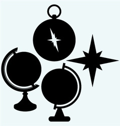 Compass and globe vector
