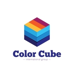 Paper style multicolor cube logo flat vector