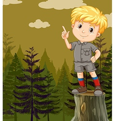 Little boy standing on log vector image