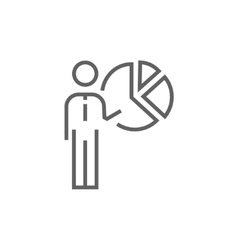 Businessman pointing at the pie chart line icon vector