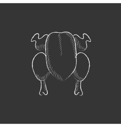 Raw chicken drawn in chalk icon vector
