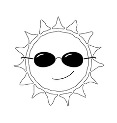 Happy sun fun icon black whtie vector