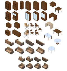 Set of furniture in brown colors vector