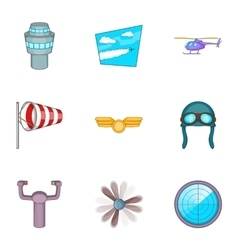 Airport icons set cartoon style vector image vector image