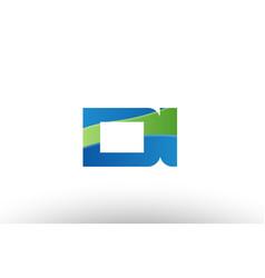 Blue green di d i alphabet letter logo vector