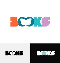 Books word text logo with open book silhouette vector