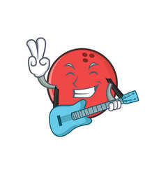Bowling ball character cartoon with guitar vector