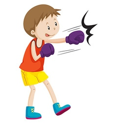 Boy wearing boxing gloves vector
