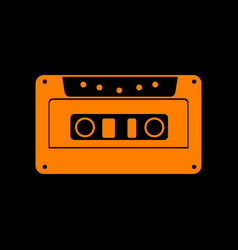 Cassette icon audio tape sign orange icon on vector