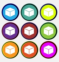 Cube icon sign nine multi colored round buttons vector