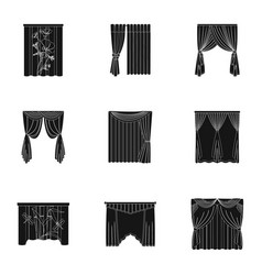 Curtains cornice print and other web icon in vector