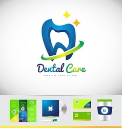 Dental dentist tooth logo icon design vector