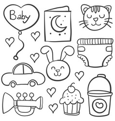 Doodle of baby style hand draw vector