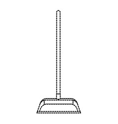 dustpan with wooden stick in monochrome dotted vector image vector image