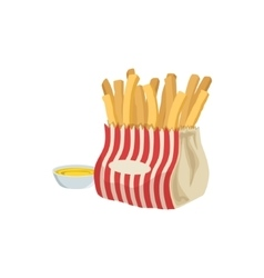 Fries with sauce street food menu item realistic vector