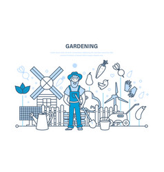 gardening garden elements farm eco products vector image